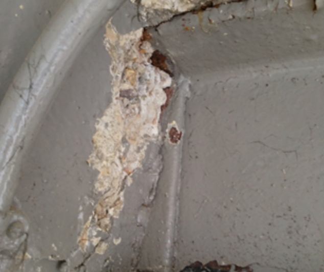 Failure Of Concrete At Joint With Steel Beam