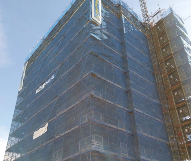 High rise residential block undergoing renovations